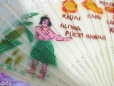 Vintage Plastic Fan Hawaiian Hula Girl Islands costume decoration decor Hawaii
