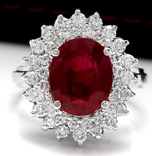 8.50 Carats Natural Red Ruby and Diamond 14K Solid White Gold Ring