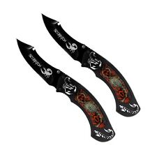 Set of 2 Crimson Scorpion Pocket Knives with a Real Scorpion