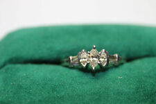 Platinum Engagement Ring with Marquise & Baguette Diamonds 3.3 Gms Size 7.5 JSH