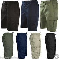 MENS PLAIN ELASTICATED SHORTS POLY COTTON CARGO COMBAT SUMMER CASUAL 3/4 PANTS