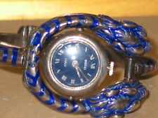 VINTAGE GUCCI STERLING  W ENAMEL 3 LIONS HEAD WATCH BRACELET