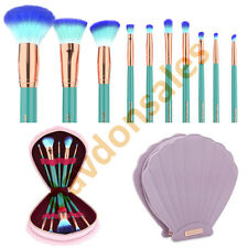 Makeup Brushes Spectrum 10 Piece Set Mermaid Clam Case Vegan Eye Lip Cosmetic