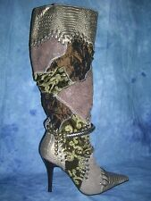WILD ROSE EMBROIDERED BOOTS BROCADE, LEATHER LACING/ BELT & RHINESTONE BELT 8