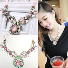 New Fashion Luxury pink gem drops ribbon necklace Pendant Charm