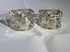Antique victorian hallmarked sterling silver paire de ronds de serviette de jones brother