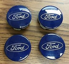 4x BLUE FORD ALLOY WHEEL CENTRE CAPS 54MM - FITS MOST MODELS FOCUS/MONDEO/FIESTA
