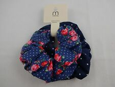 Denim scrunchies two twisters dark blue with dots pink flowers stretchy