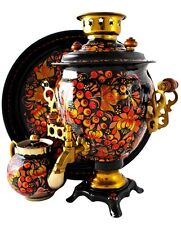Russian Samovar 100 %Hand Painted  Trio Electrical Samovar Tea Pot Tray 3in1 New