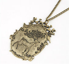 Fashion Punk Jewelry Choker Vintage Bronze Cute Sika Deer Pendant Chain Necklace