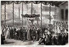 Roma: Piazza San Pietro: Processione con Pio IX. Grandissima. Stampa Antica.1861