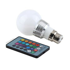 3W B22 RGB LED LIGHT 16 COLORS CHANGING BAYONET BULB REMOTE CONTROL LAMP NEW FT