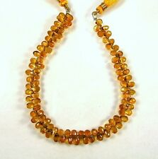 "MADEIRA CITRINE faceted drop briolette beads AAA+ 5-6mm 9"" strand"