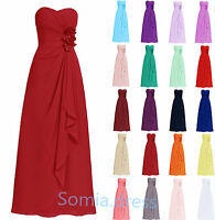 New Strapless Wedding Formal Chiffon Evening Ball Gown Party Bridesmaid Dresses