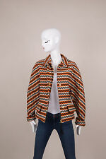 Marni Winter Edition 2012 NWT Orange/White/Navy Stripe Wool Knit Jacket SZ 44