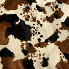 "Brown Tan Cow Velboa Faux Fur Fabric - Sold By The Yard - 58""/ 60"""