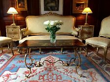 Stunning Antique Style Coffee Table Chinoiserie Black Lacquer Chinese Gilded