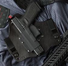 Glock 17 19 22 23 31 32 34 Left hand Leather Kydex Hybrid Gun Holster IWB Tuck