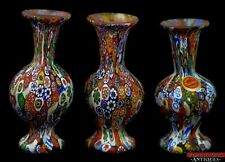 3pc Murano Venice Italy Colorful Blown Millefiori Technique Art Glass Vases L6X