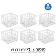 Set Of 6! Plastic Stackable Storage Crate Sterilite Box Home Containers White