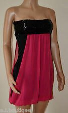 VICKY MARTIN black hot pink sequin tube fitted chiffon mini dress BNWT 8 10 12