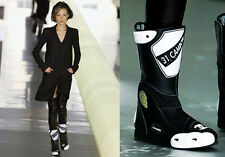 FAB CHANEL BLACK WHITE LEATHER CC LOGO RUNWAY BIKER MOTORCYCLE BOOTS 37 6.5  7