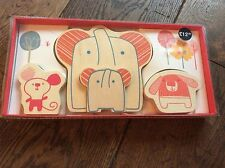 BNIB New Marks & Spencer Baby's Wooden Animal Set - Elephant Mouse Dog M&S