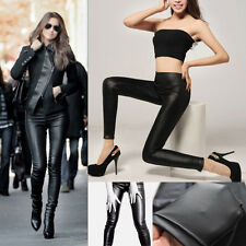 Hot Woman's Black Faux Leather Stretch Leggings Tight Punk High Elasticity Pants