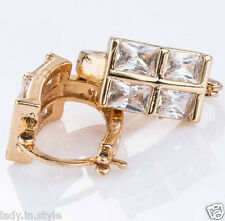 Ladies Hot Fashion White Sapphire 18K Gold Filled Party Mother Day Gift Earrings