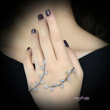 fashion leaf palm cuff hand bracelet AAA zirconia hand cuff bangle silver tone