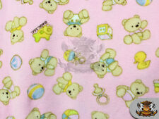 "Fleece Fabric Printed ""BABY BEAR PINK"" Fabric / 58"" W / Sold By the Yard"