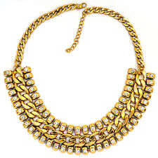 "Gold STATEMENT Necklace Set Rhinestone Chunky Chain Link 18"" Fashuun Village"