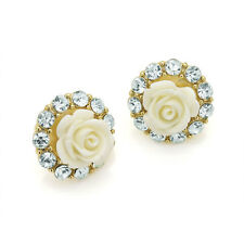 New Crystal Resin White Rose Flower Stud Earrings ER28692