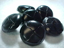 vintage 6 BLACK DOME WOVEN LEATHER MOLDED BUTTONS 45 line 28mm back
