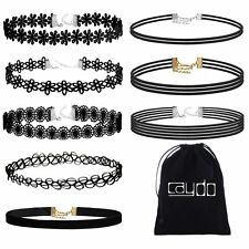 Caydo 8 Pieces Black Choker Necklace Lace Choker Tattoo Necklace for Women Girls
