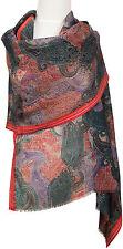 Pashmina Schal Wolle Seide wool silk scarf gewebt bedruckt Paisley woven printed
