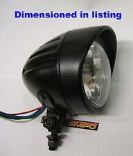 "Custom Matt Black Peaked Bullet 4"" Small 90mm Lens Headlight Bobber Cafe Racer"