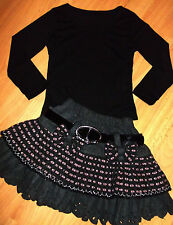 GIRLS BLACK TOP & GREY PINK CHECK PATTERN BOW TRIM RUFFLE PARTY SKIRT age 5-6