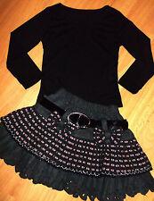 Chicas top negro y gris cuadros en rosa Arco Trim Volantes Falda de fiesta 5-6 años