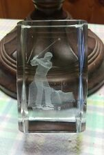 Golf Sport Golfer 3-D Laser Etched Crystal Paperweight A-134