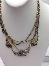 LUCKY BRAND Two-Tone Turquoise Natives Rock Crystal Butterfly Layer Necklace