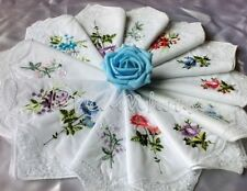 6 GIRL WOMEN COTTON  EMBROIDERY FLORAL LACE BUTTERFLY HANDKERCHIEFS ASSORTED