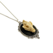 3D Wolf skull gothic goth necklace Cameo resin taxidermy goth steampunk