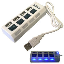 WHITE 4 Ports 2.0 USB Powered Hub For Desktop PC Laptop Mac Book Adapter new