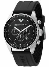 NEW EMPORIO ARMANI AR0527 BLACK CHRONOGRAPH MENS WATCH - 2 YEAR WARRANTY