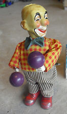 "ODD  Vintage 1950s Plastic Wind Up Clown Toy 6 3/4"" Tall"