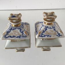 Paire de Flacon Porcelaine Valentine Paris Ancien Parfum Orient Bleue Empire