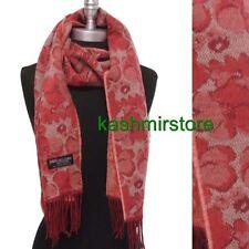 New 100% Cashmere Scarf Flower Pattern Soft Warm Wool Coral/beige