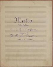 MALIA FRANCESCO PAOLO TOSTI VERSI PAGLIARA PIANOFORTE 1930 SPARTITO MANOSCRITTO