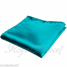 Green Turquoise Solid Handkerchief Pocket Square Hanky Wedding Prom